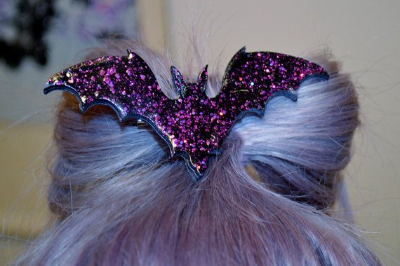 Bat Necklace hair clip Holo Glitter, Pastel Goth, Fairy Kei, Soft Grunge, Kawaii on Etsy, $10.45