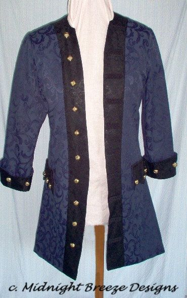 MADE TO ORDER Mens  Renaissance Pirate Frock Coat Costume, Choice of Fabrics and Colors. $275.00, via Etsy.