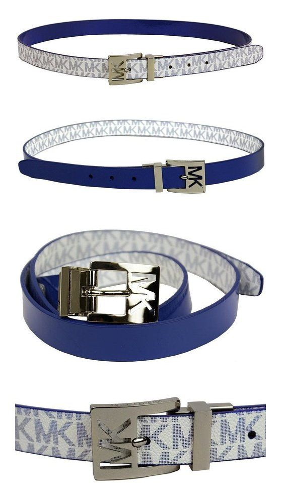 $38.99 - Michael Kors Women's 25mm Reversible Patent to Logo PVC Belt, Blue #michaelkors