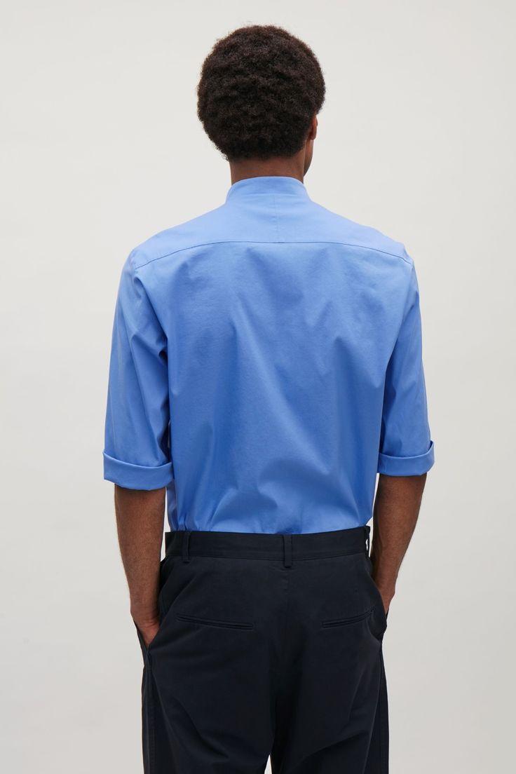 COS image 3 of 3/4 sleeve grandad shirt in Blue
