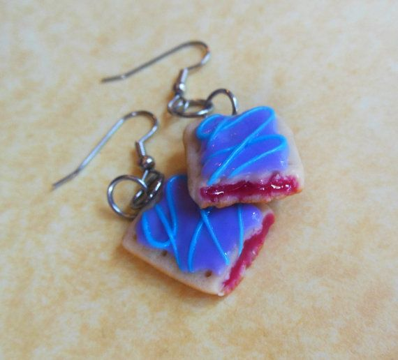 polymer clay wild berry pop tart earrings by ScrumptiousDoodle, $15.00