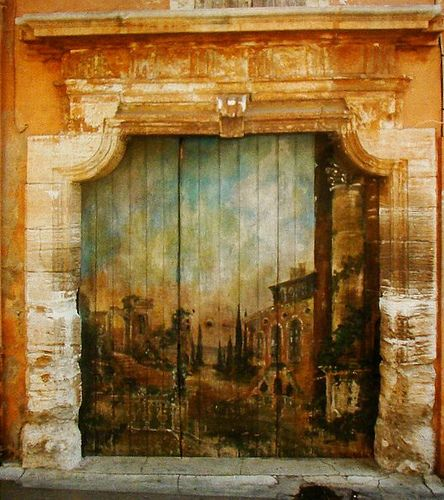 painted door in Roussillon, Provence - France