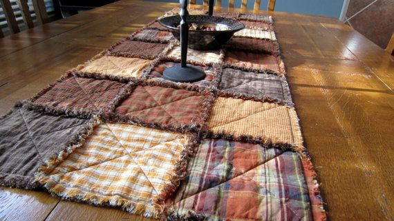 Primitive Homespun Rag Table Runner for Fall by QuiltedbyTommyD, $50.00