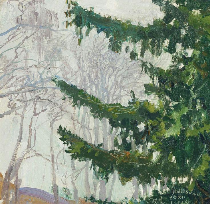 Akseli Gallen-Kallela (Finnish, 1865-1931),Fog at Christmas, 1912. Oil, 30 x 31.5 cm.