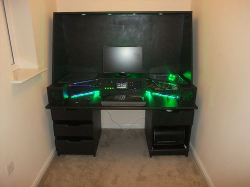 crazy computer built into desk. interesting idea, but I'd prefer to do a more hidden computer, you loose too much desk surface this way  My Ultimate Desk Mod