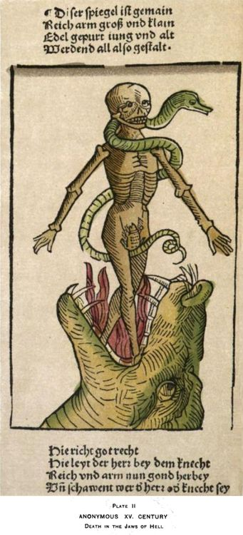 Skeletons, Snakes and Lizards, oh my! Death in the Jaws of Hell. Anonymous artist. 15th century