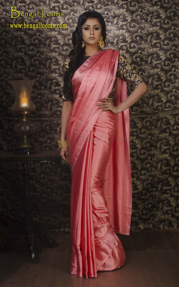 Satin Silk Saree in Peach