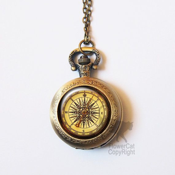 Vintage compass Pocket Watch Necklace antique by Flowercatjewelry