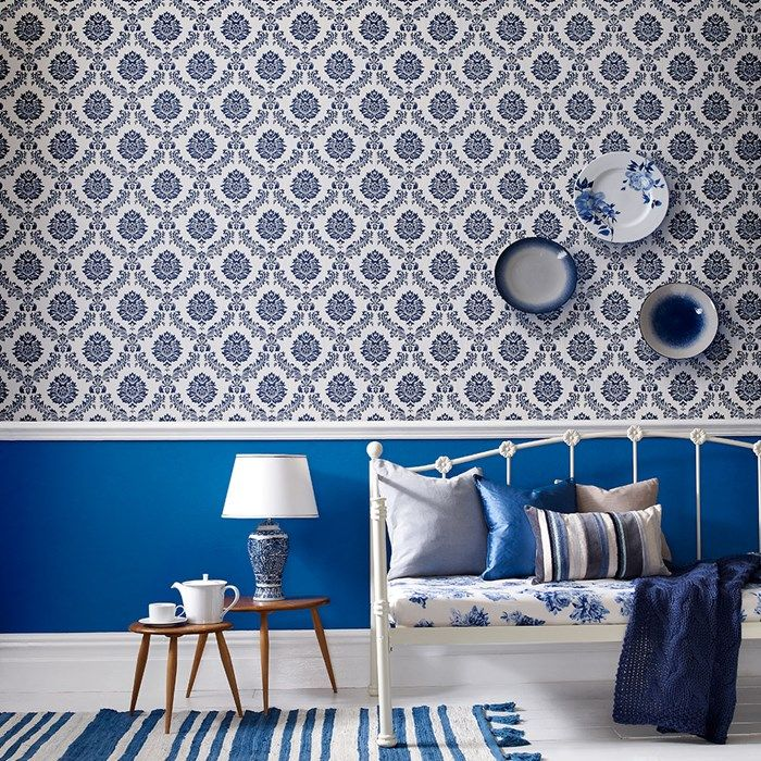 Costello Damask Wallpaper   Designer Blue Damask Wall Coverings By Graham  Brown
