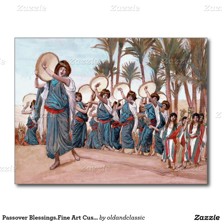 """Happy Passover, Passover Blessings, Happy Pesach, Shalom at Pesach. """"The Songs of Joy"""", c. 1896-1902. Send Passover blessings and love to friends and family with this elegant design Fine Art Passover Postcards with a beautiful Old Testament Series Illustration of James Tissot (1836 - 1902) . From the oldandclassic store at zazzle.com"""