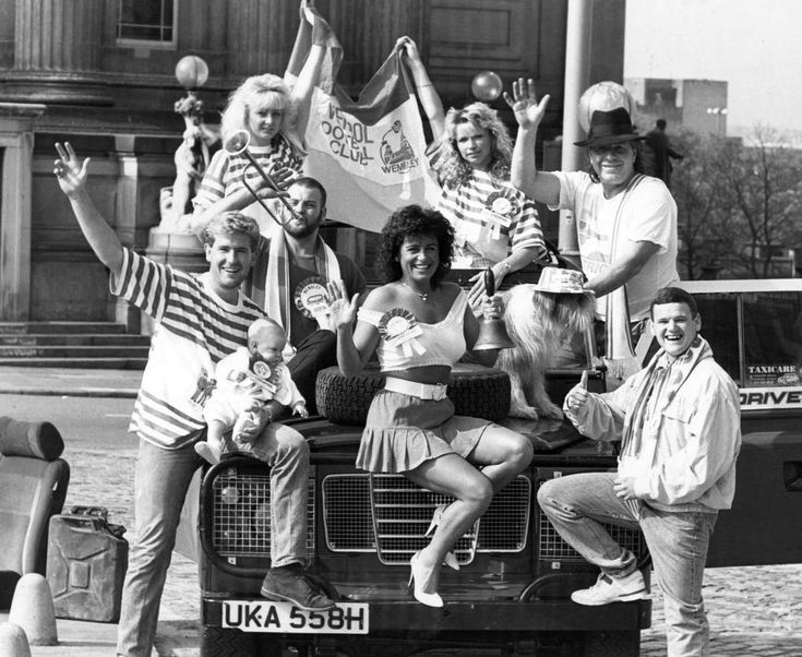 """Colourful nightclub owner """"Brummie"""" from the Coconut Grove, seen here with some of his staff leaving for Wembley for the FA Cup final between Everton and Liverpool 19th May 1989"""