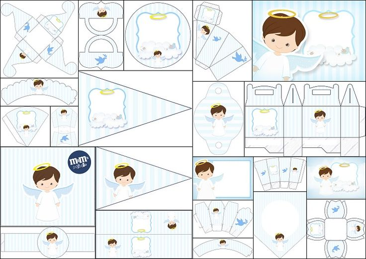 Precious First Communion Free Printable Kit with Angel in Light Blue. | Oh My First Communion!