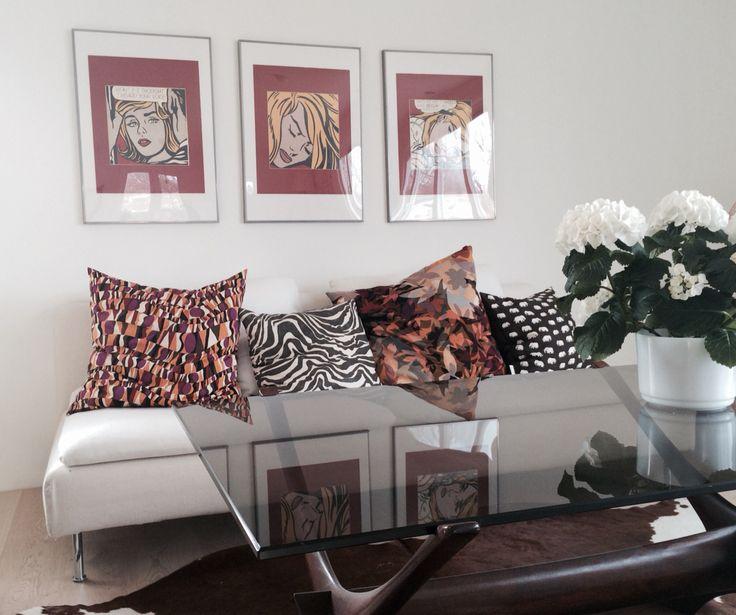 Ikea Söderhamn sofa with missoni cushions and Lichtenstein prints