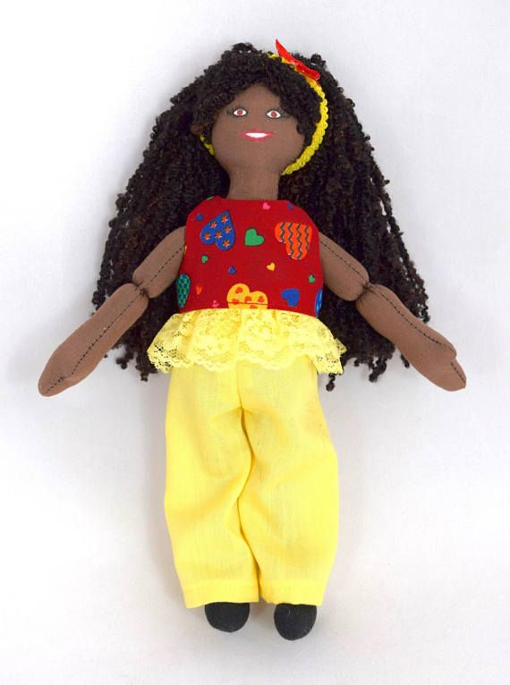 African American Girl Doll  Kids Toy  Handmade Doll