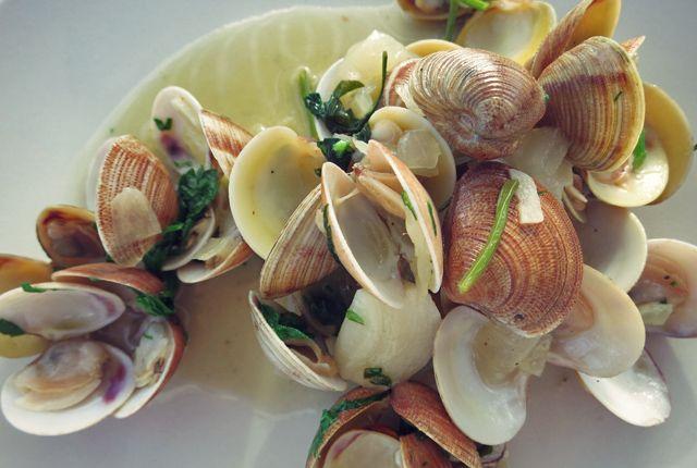 Almejas, white wine, garlic. Venusmuscheln in Weisswein. Mediterrane Bordküche, Was kochen beim Segeln?