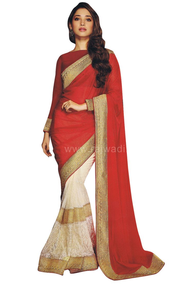 Sophie Choudry White & Red coloured Saree