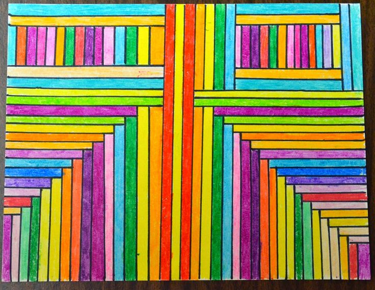 Parallel & Perpendicular Art I think the learning is the directions. Model as I tell them what to do with their drawing. 37 stripes across, 5 different colors but one is darker shade so total of 8 or 10 colors in all.