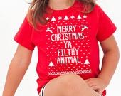 Merry Christmas Ya You FILTHY ANIMAL ugly xmas sweater new home alone winner boys girls kids TODDLER T-shirt e0078. $13.99, via Etsy.
