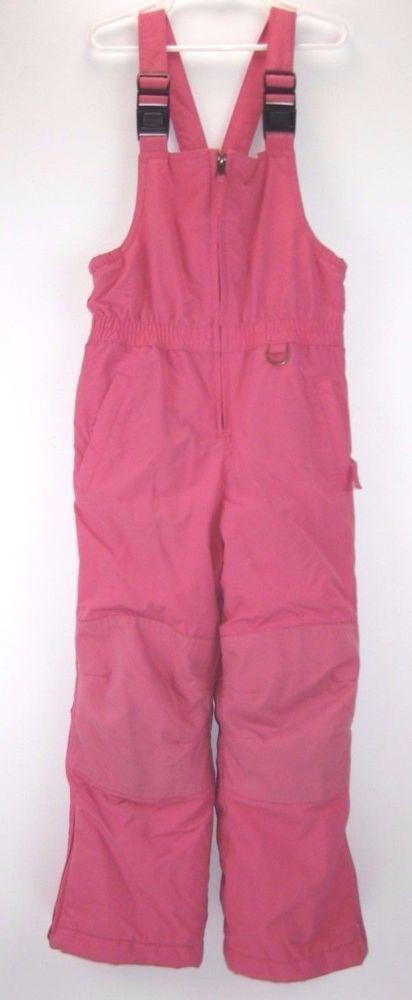 Lands End Kids Girls Size 6 Pink Ski Snow Bib Pants Snowsuit Nylon #LandsEnd #BibSkiSnowPants #Everyday