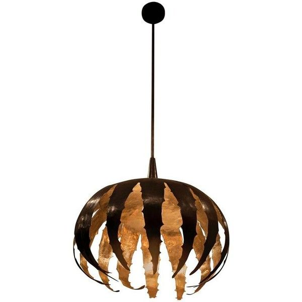 Preowned Contemporary Hammered 004 Pendant By Orphan Work, 2017 ($5,720) ❤ liked on Polyvore featuring home, lighting, ceiling lights, brown, chandeliers, outside hanging lights, outdoor chandelier, outdoor hanging lights, solid brass chandelier and brass outdoor lighting
