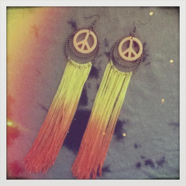 Largos verano  Amarillos - Naranja degradé con signo paz