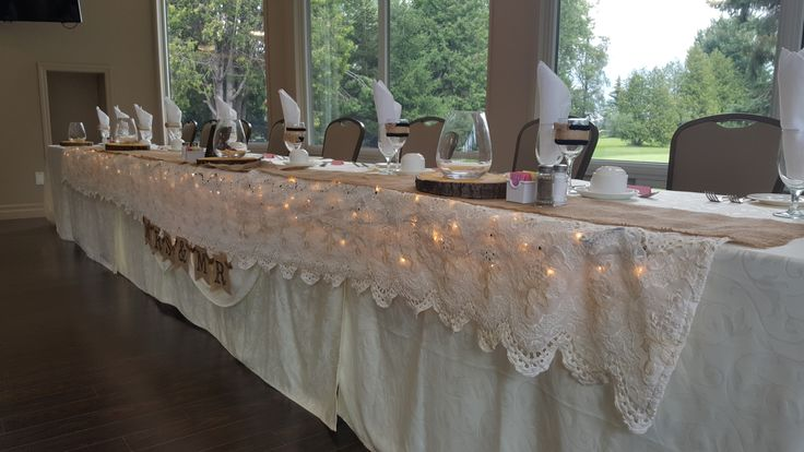 August 2017 Wedding at Shelburne Golf & Country Club. The makings of the head table.