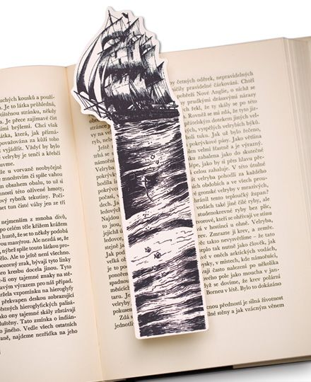 Moby Dick Bookmark, the whaling ship Pequod
