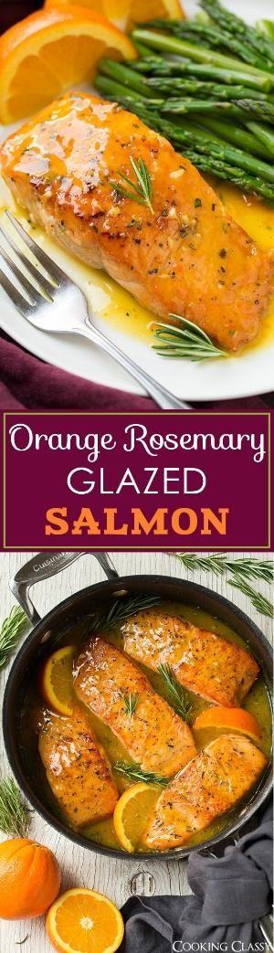 Salmón Naranja-Romero esmaltado - esto era tan fácil de hacer que era muy sabroso y delicioso!  Perfecto para una comida entre semana!  Servir con arroz o cuscús para la salsa extra.  por DeeDeeBean