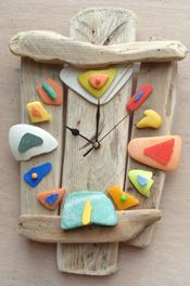 Fishing Buoys Driftwood Clock by Dom Harvey from the Cornish Driftwood Art Gallery