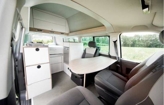 Inside the Bett Mobil with high roof