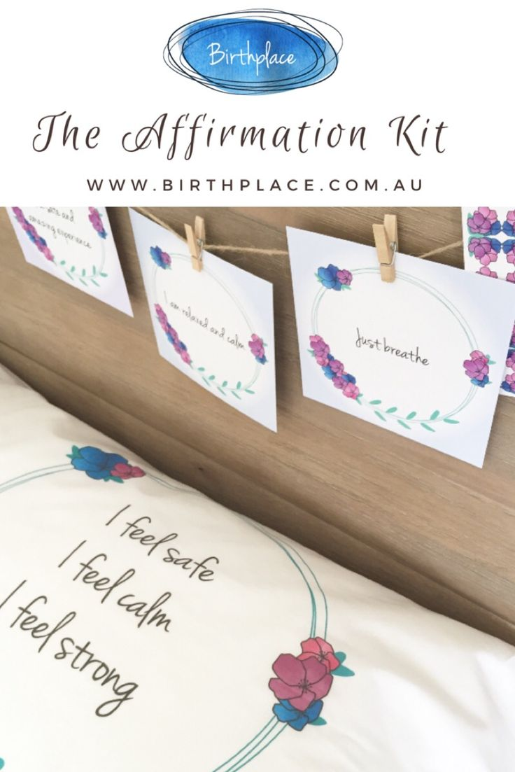 The Affirmation Kit includes a set of 12 large birth affirmation prints and a printed pillowcase. Suitable for all birthing environment. Birth into colour, calm and comfort with Birthplace. Available now www.birthplace.com.au