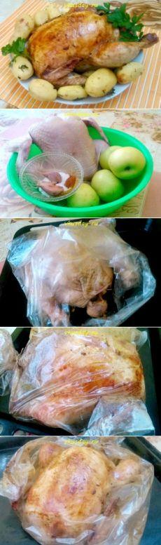 Курица в духовке с яблоками | Вкусный день