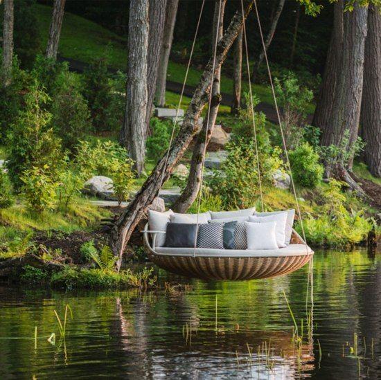 Rattan Schaukel Daybett Garten Gestaltung Ideen