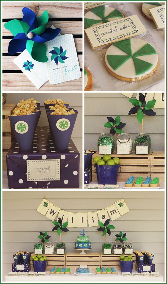 Navy & Green Pinwheel Birthday