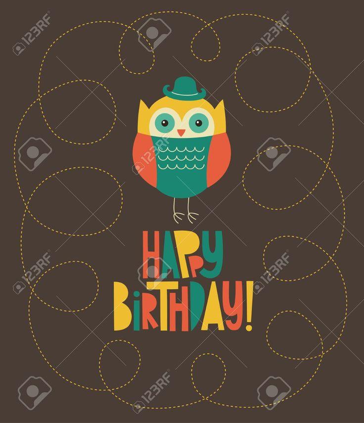 счастливы дизайн сова открытка на день рождения. Клипарты, векторы, и Набор Иллюстраций Без Оплаты Отчислений. Image 20633261.