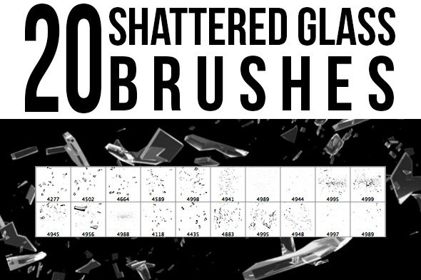 20 Shattered Glass Photoshop Brushes