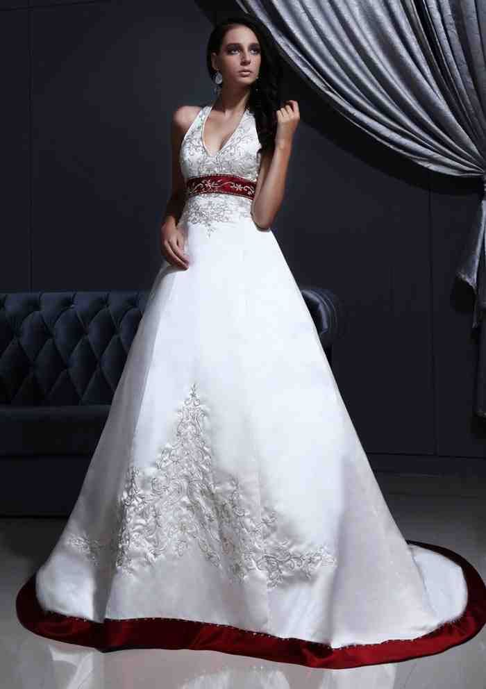 Simple Red Accent Wedding Dress