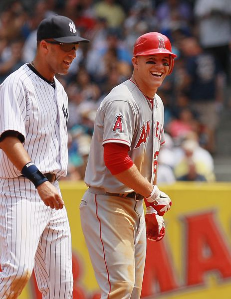 Mike Trout #27 and derek jeter