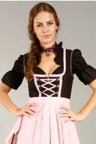 3tlg. Dirndl schwarz rosa hellbraun kariert mit Bluse und Schuerze