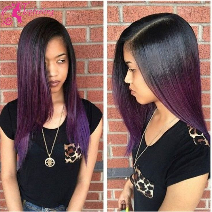 Brazilian Human Hair Glueless Full Lace Wigs With Baby HairPurple Ombre Lace Front Human Hair Wigs U Part Wigs For Black Women