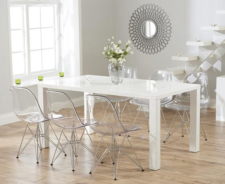 Atlanta 160cm White High Gloss Dining Table With Charles Eames Style DSR Eiffel Transparent Chairs