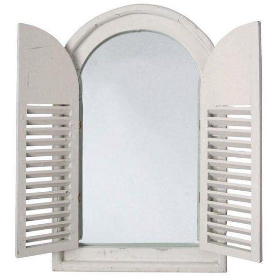 Spiegelkozijn met houten deurtjes