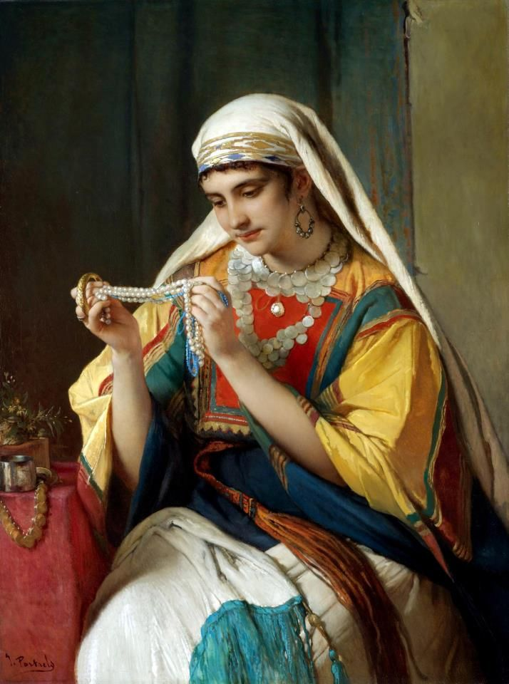 The pearl necklace By Jean François Portaels - Belgian , 1818 - 1895 Oil on canvas , 101cm X 76cm