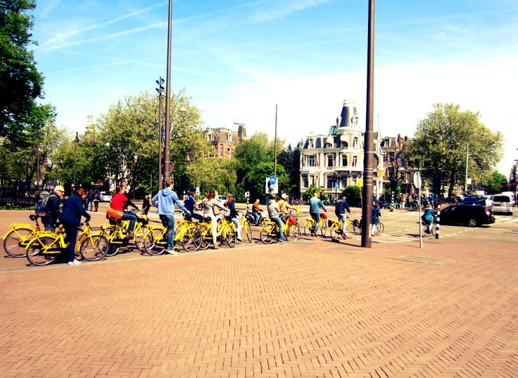 Amsterdam, bike tour, yellow bikes