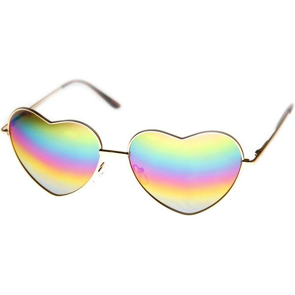 Womens Metal Frame Flash Mirror Rainbow Lens Heart Shape Sunglasses (248.480 VND) ❤ liked on Polyvore featuring accessories, eyewear, sunglasses, lens glasses, mirror sunglasses, mirror glasses, lens sunglasses and mirrored glasses