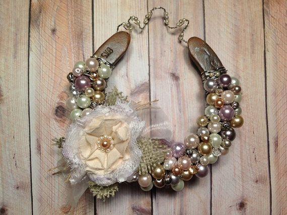 Good Luck Horseshoe, Shabby Chic, Cottage Style Decor, Rustic Horse Decor,  Wedding