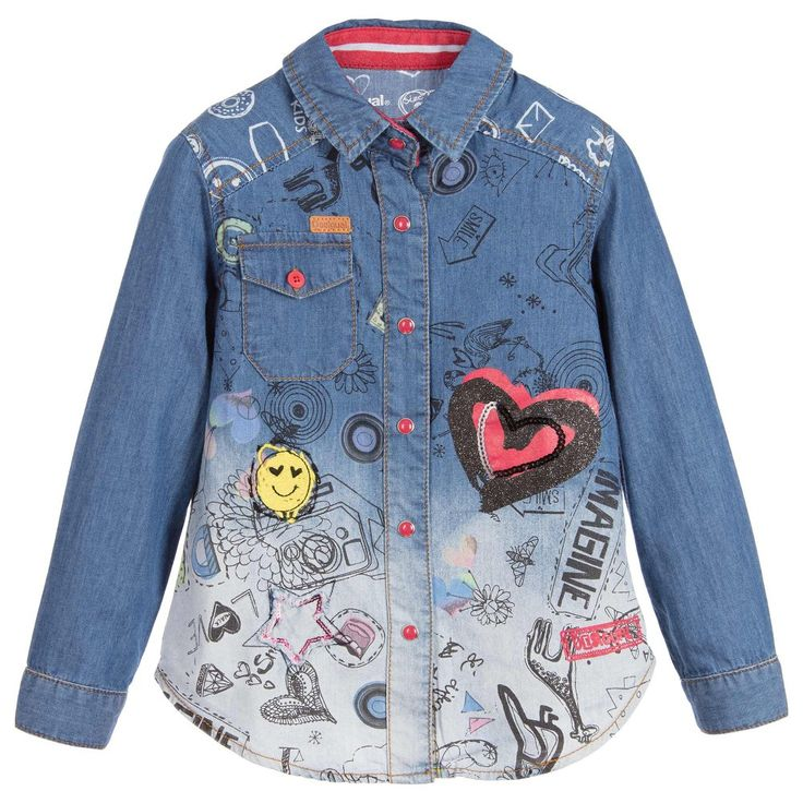 Girls denim shirt by Desigual. Made in soft cotton denim with an ombre effect, it has a pointed collar with red, front popper fastenings and a chest pocket. The front features a fun doodle pattern with a smiley face and heart shapedappliqué.