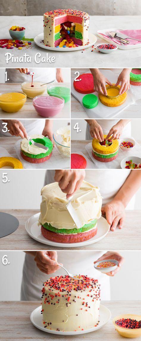 Voici les 6 étapes pour créer un pinata cake