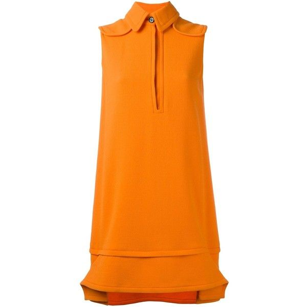 Victoria Victoria Beckham Collared Mini Dress (€555) ❤ liked on Polyvore featuring dresses, wool dress, orange mini dress, short dresses, mini dress and collar dress