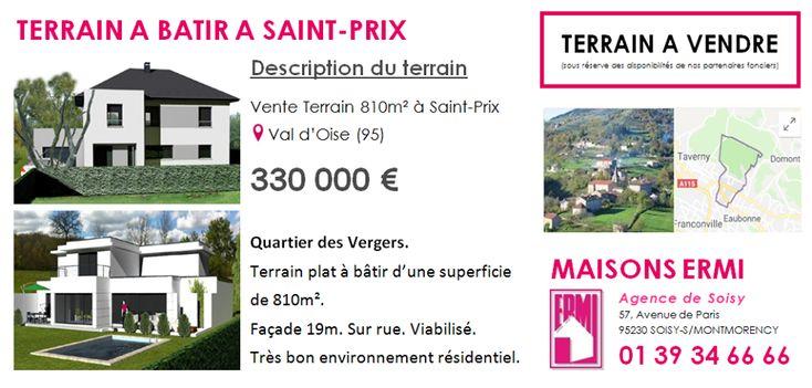 #TERRAINSABATIR à Saint-Prix (95390)  Pour en savoir plus contactez directement l'agence Maisons ERMI Soisy au 0139346666